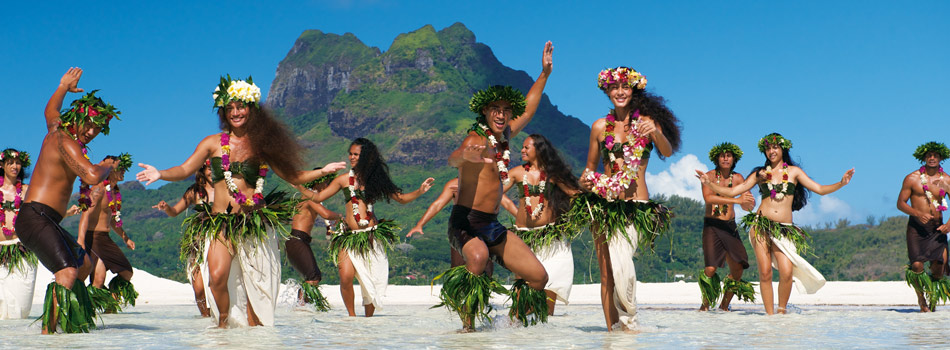 Welcome party for you at Bora Bora in Tahiti in French Polynesia