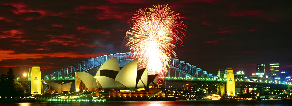 Fireworks in Sydney at the Opera House and Harbour Bridge in Australia