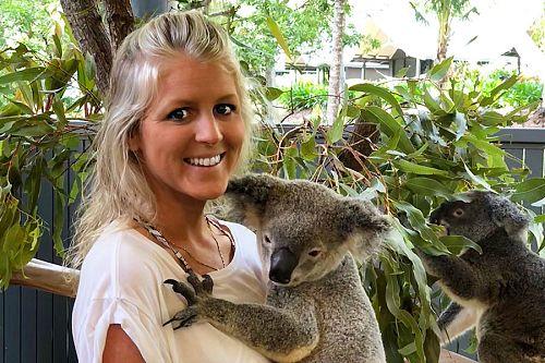 Cuddling a koala at Wildlife Habitat Port Douglas
