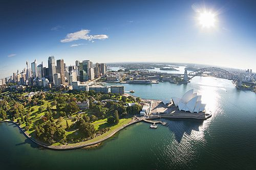 Aerial Over Sydney Harbour - Book Your Australia Vacation - Australia Travel Agency