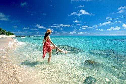 Woman on the Beach at Yasawa Island Resort Fiji