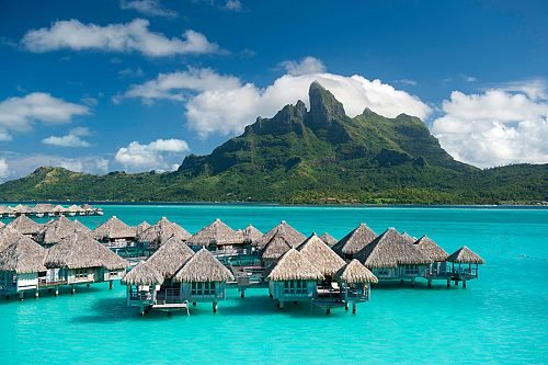 Overwater Bungalows Facing Mt Otemanu at St. Regis Bora Bora