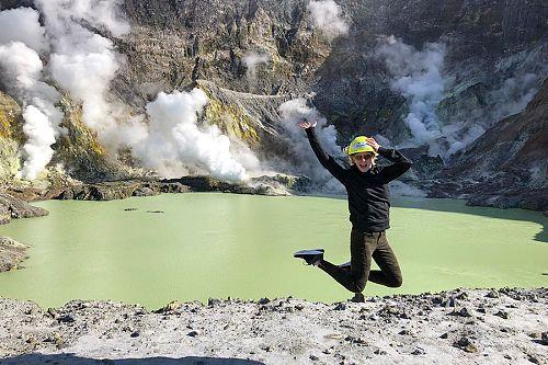 Sulfuric lakes at White Island volcano near Rotorua, New Zealand