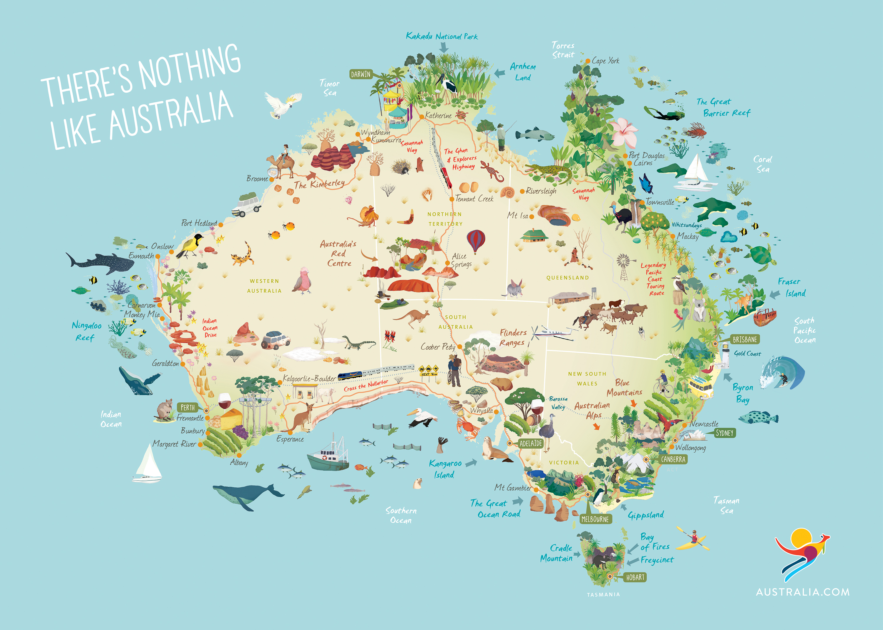 Full Map Of Australia.Ta Illustrated Map Of Australia Australia Best Places To Visit