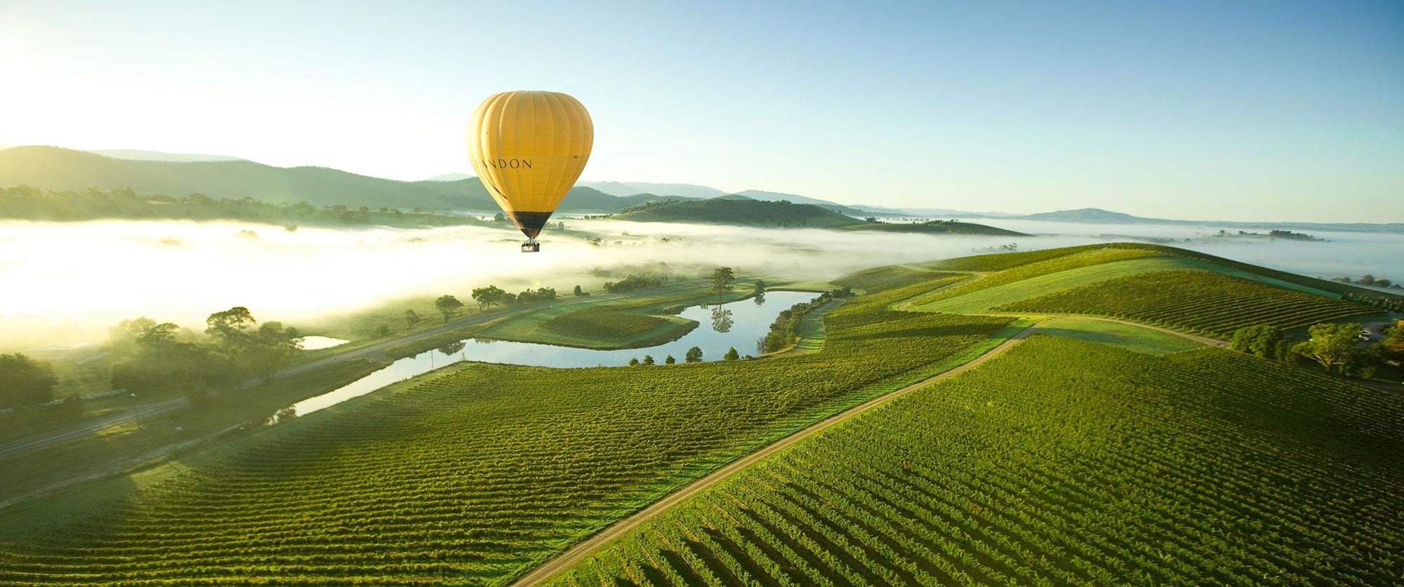 Hot air balloon over Yarra Valley, Victoria, Australia