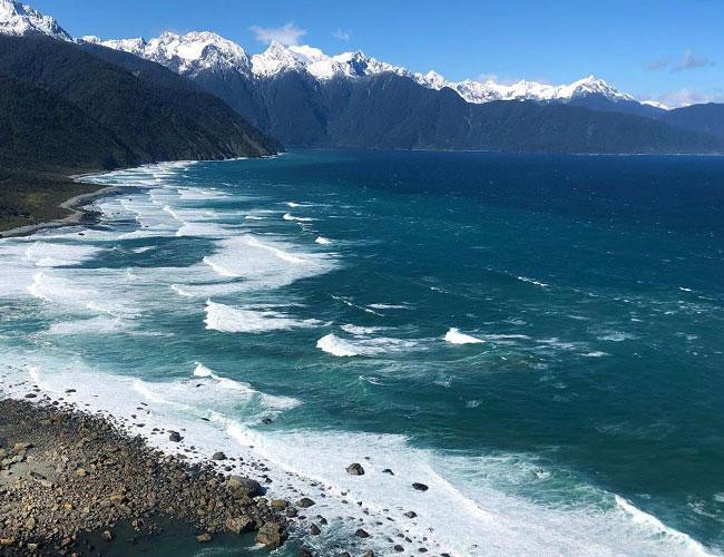 Black Sand Beach in New Zealand