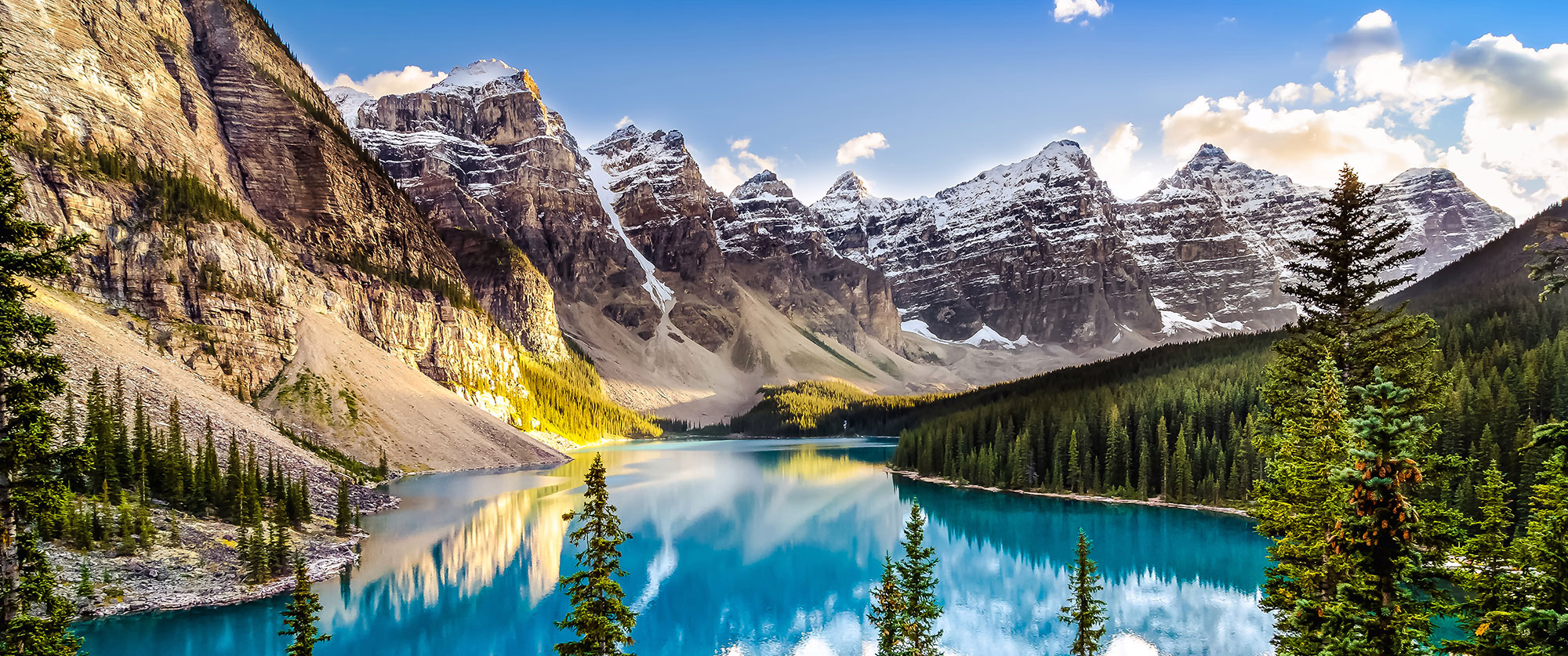 Morain Lake and mountain range in Canada